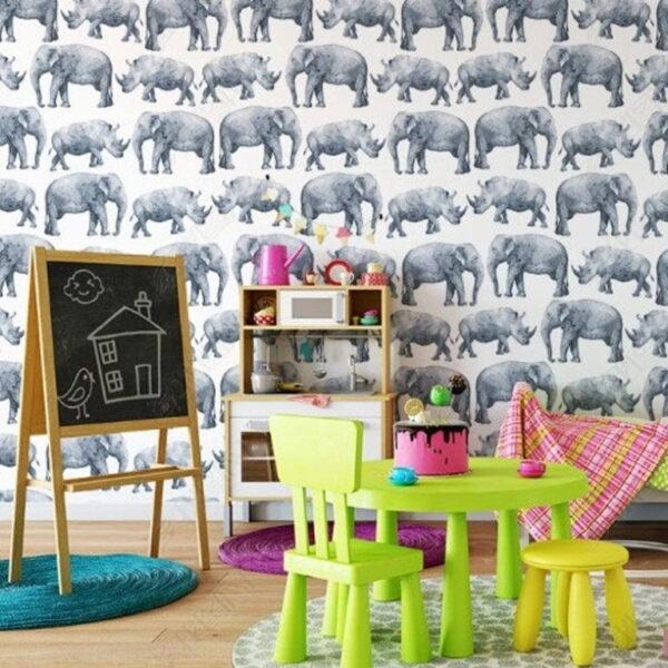 Elephants and Rhinos Wall Murals Wallpaper