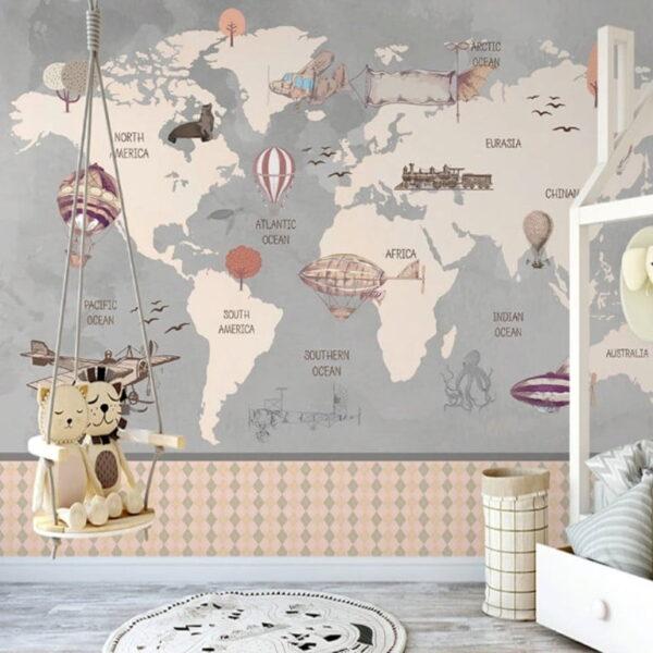 World Map Wall Murals Wallpaper