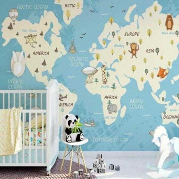 Vivid Color World Map Wall Murals Wallpaper