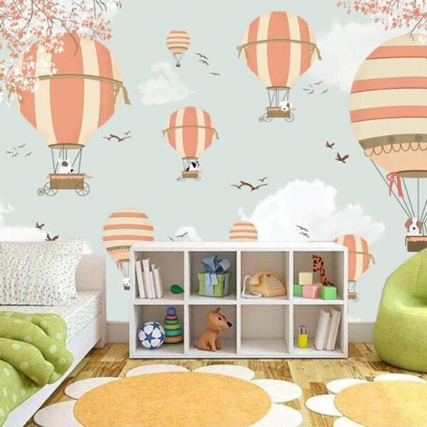 Animals and Air Balloons Wall Murals Wallpaper