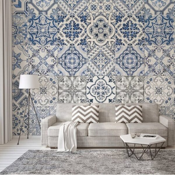 Blue Square Design Wall Murals Wallpaper