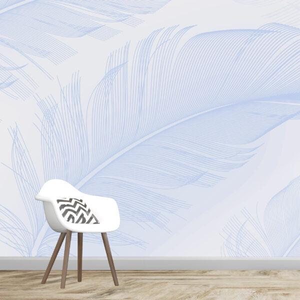 Blue Feather Wall Murals Wallpaper