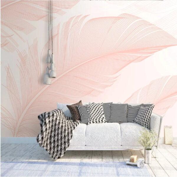 Pink Feather Wall Murals Wallpaper