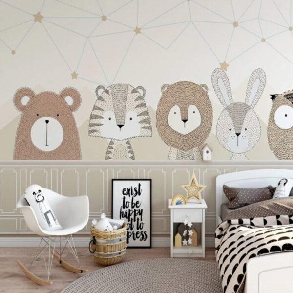 Owl Rabbit Wall Murals Wallpaper