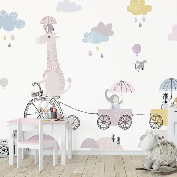 Bicycle Riding Giraffe Wall Murals Wallpaper
