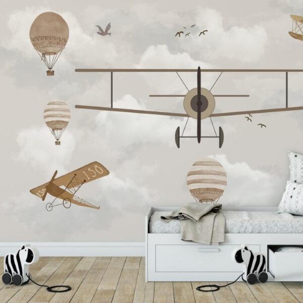 Biplane Planes Wall Murals Wallpaper