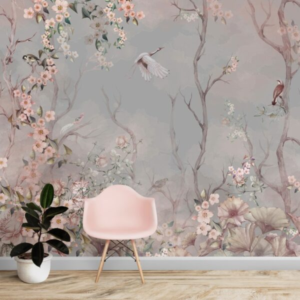 Gray Background Floral Wall Murals Wallpaper