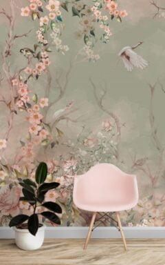 Green Background Floral Wall Murals Wallpaper