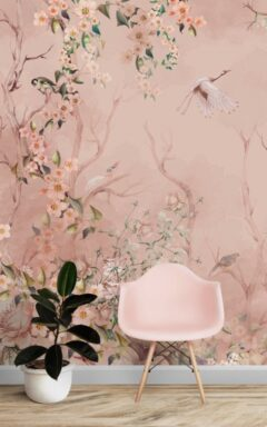 Pink Background Floral Wall Murals Wallpaper