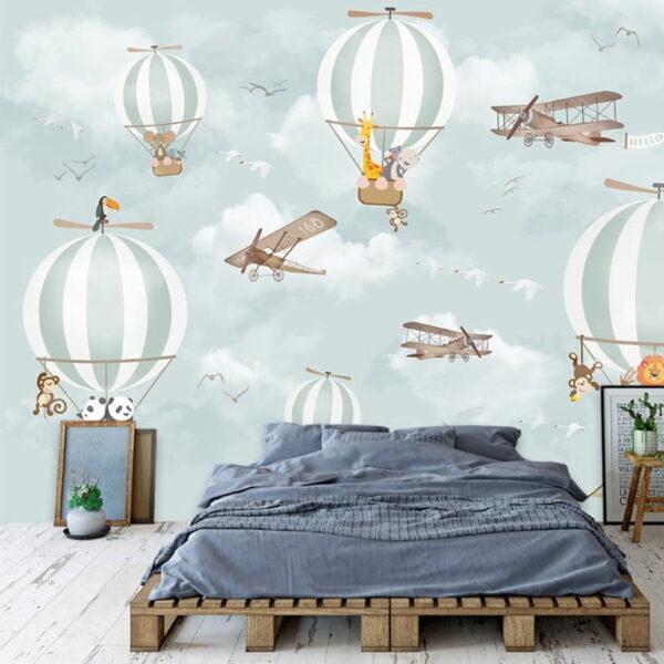 Blue White Air Balloons Wall Murals Wallpaper