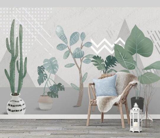 Cactus and Exotic Plants Wall Murals Wallpaper