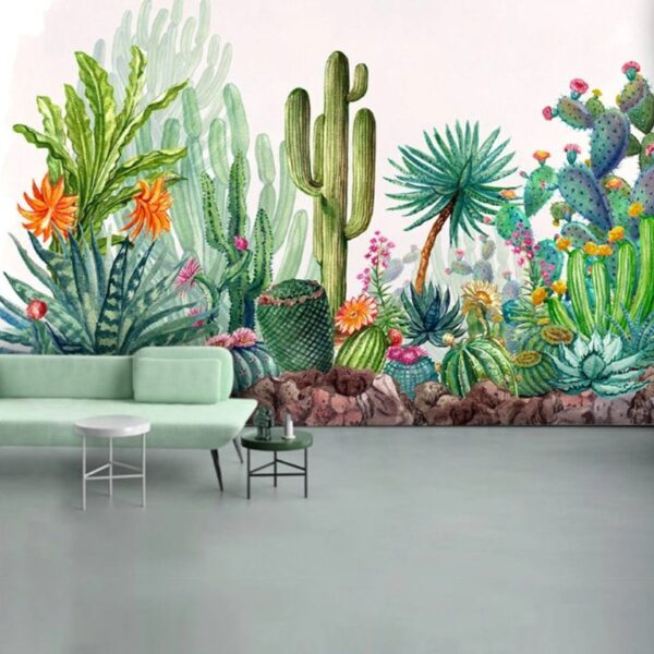 Cactus Flowers Wall Murals Wallpaper