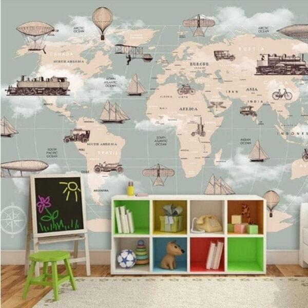 Ellipse World Map Wall Murals Wallpaper