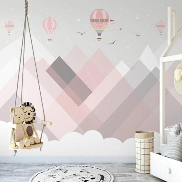 Pink Air Balloons Wall Murals Wallpaper
