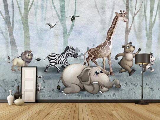 Cute African Animals Wall Murals Wallpaper