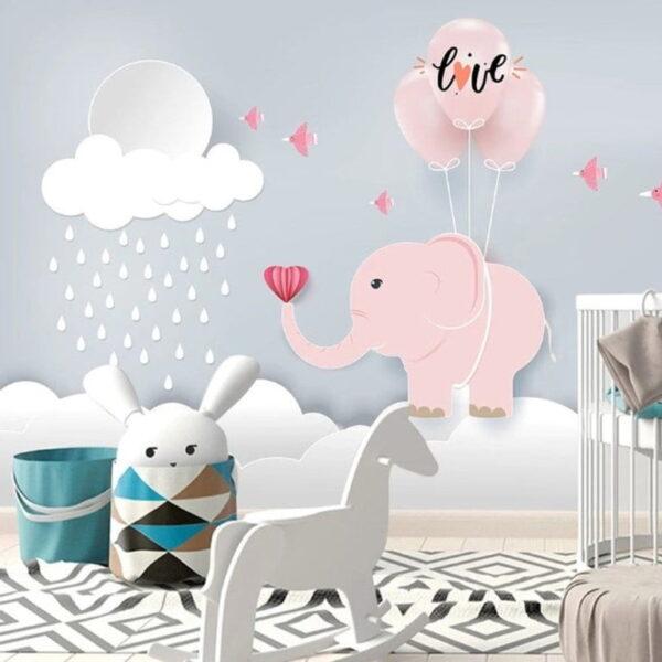 Pink Elephant Wall Murals Wallpaper