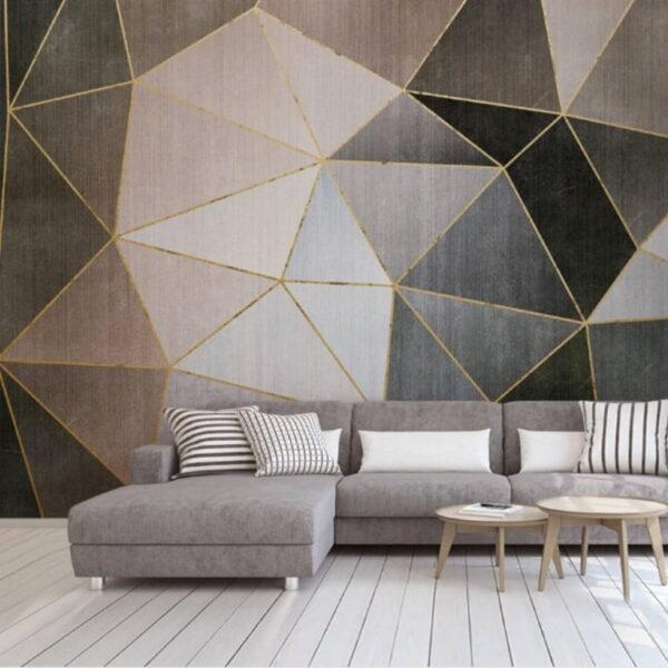 Dark Color Triange Shapes Wall Murals Wallpaper
