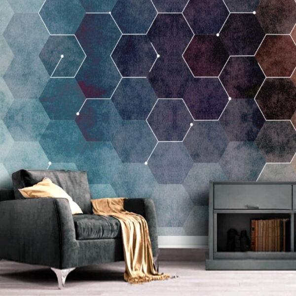Dark Colored Hexagons Wall Murals Wallpaper