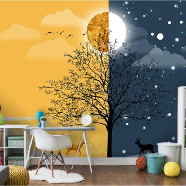 Daylight and Midnight Wall Murals Wallpaper