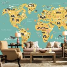 World Map on Green Background Wall Murals Wallpaper