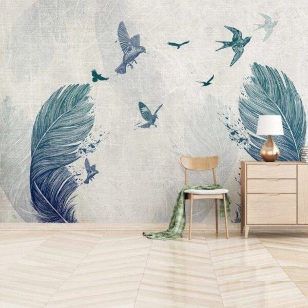 Feathers and Flying Birds Wall Murals Wallpaper