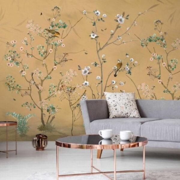 Flowers Birds Wall Murals Wallpaper
