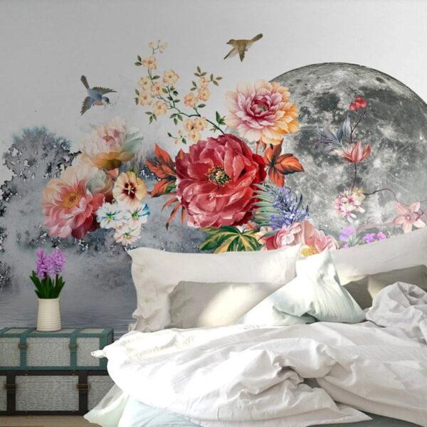 Flowers Moon Wall Murals Wallpaper
