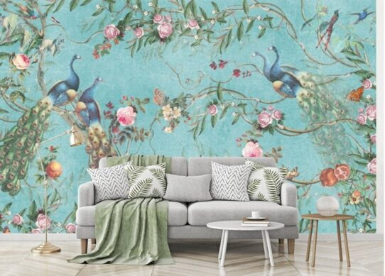 Flowers and Peacock Wall Murals Wallpaper