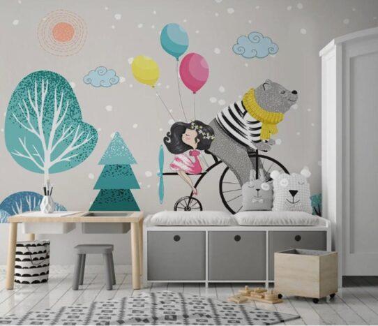 Gray Grizzly Bear Wall Murals Wallpaper