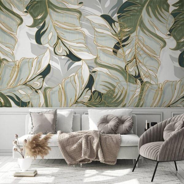 Watercolor Exotic Leaves Wall Murals Wallpaper