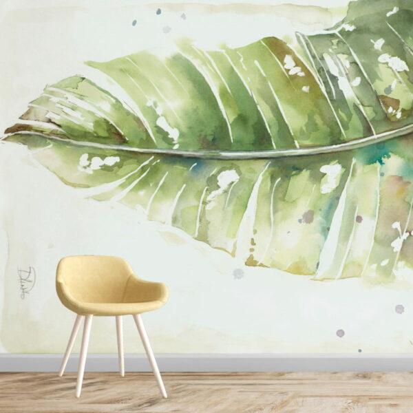 Watercolor Leaf Wall Murals Wallpaper