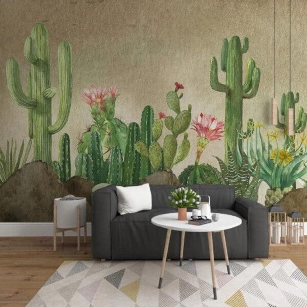 Green Desert Cactuses Wall Murals Wallpaper