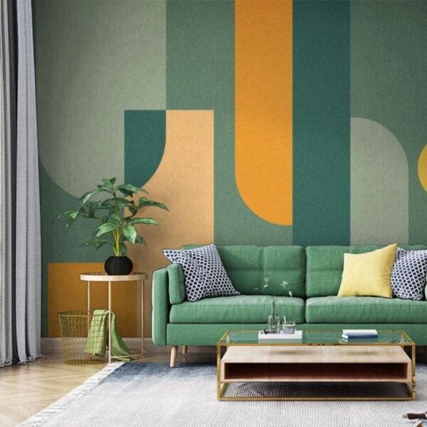 Green Orange Shapes Wall Murals Wallpaper