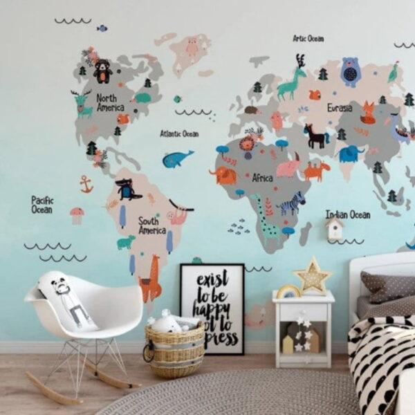 Funny World Map Wall Murals Wallpaper