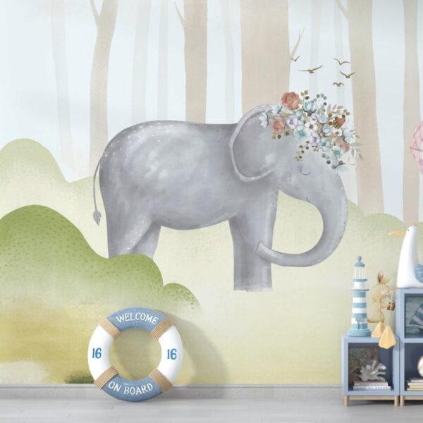 Happy Elephant Wall Murals Wallpaper