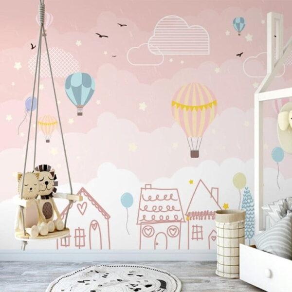 Pink Clouds Wall Murals Wallpaper