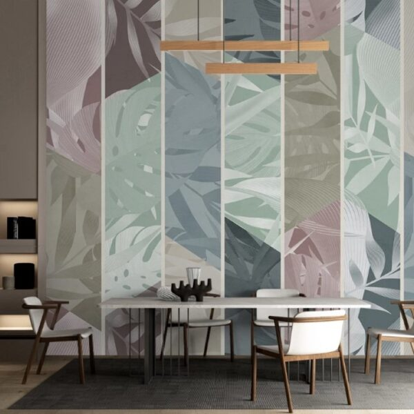 Leaves İn the Vertical Lines Wall Murals Wallpaper