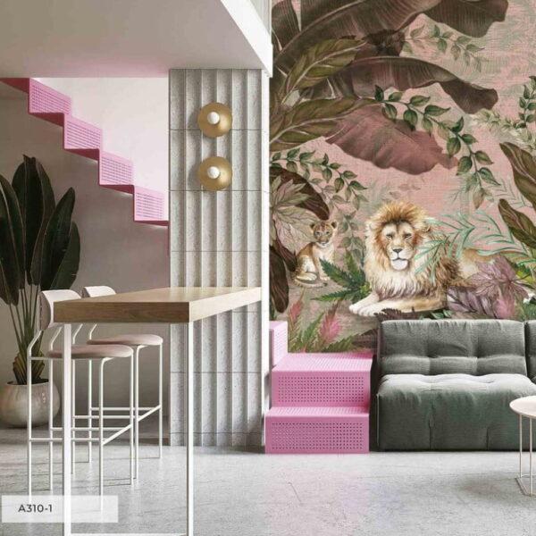 Lion and Cub Wall Murals Wallpaper