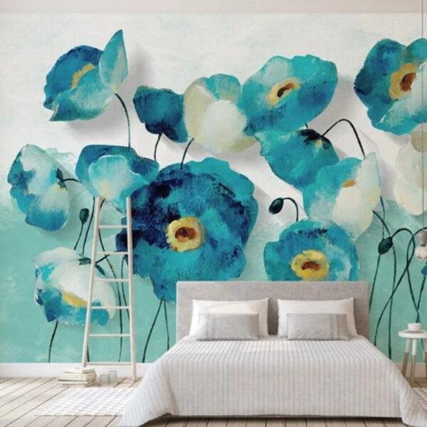 Long Stem Garden Flowers Wall Murals Wallpaper