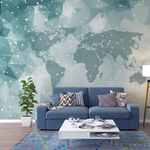 White Blue Map Wall Murals Wallpaper