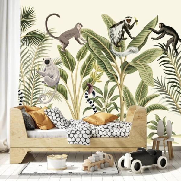 Monkeys on Leaves Wall Murals Wallpaper