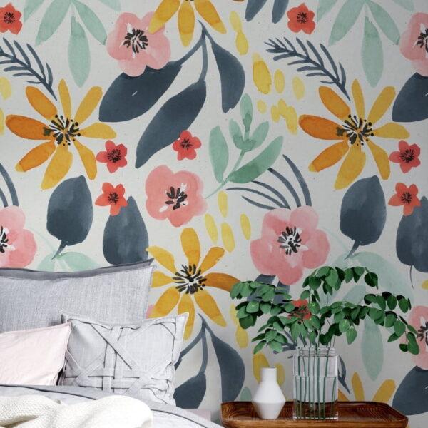 Multicolor Flowers Wall Murals Wallpaper