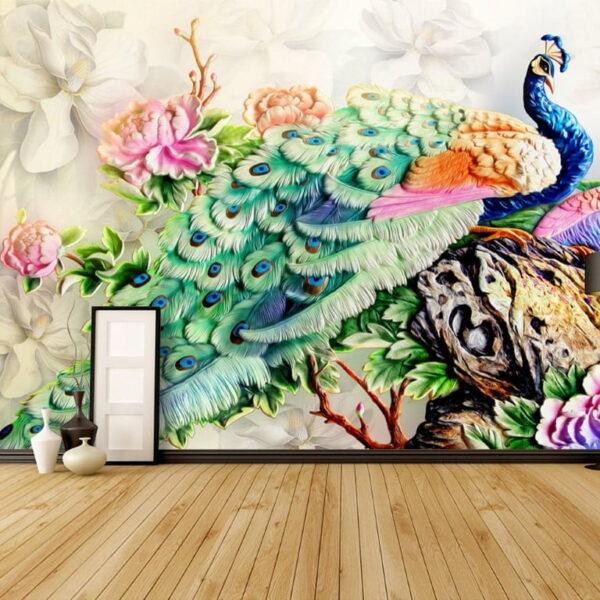 Multicolor Peacock Wall Murals Wallpaper