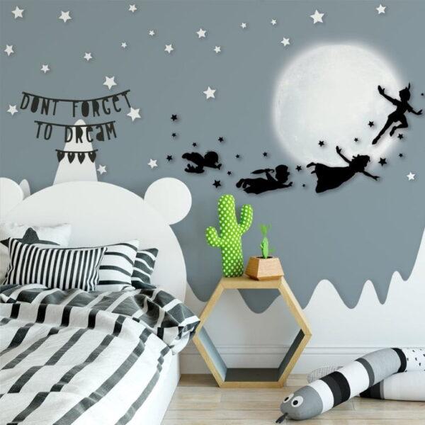 Peter Pan Silhouette Wall Murals Wallpaper