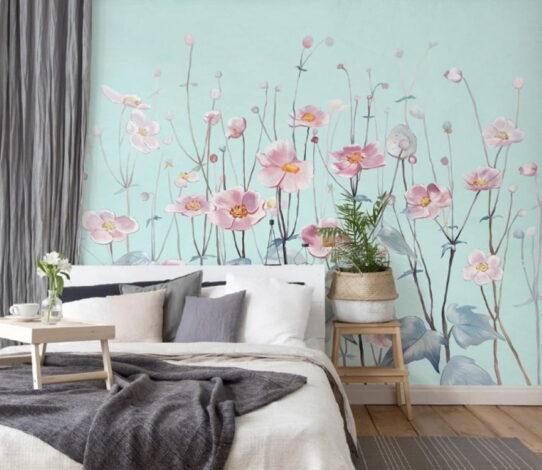 Pink Flowers Wall Murals Wallpaper