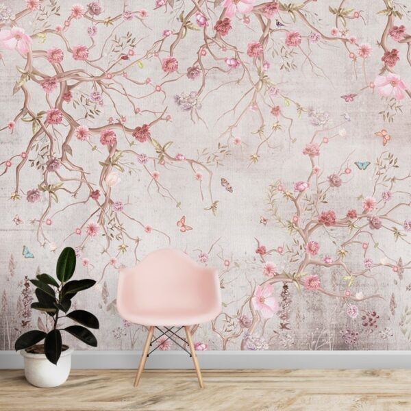 Pinkish Spring Flowers Wall Murals Wallpaper