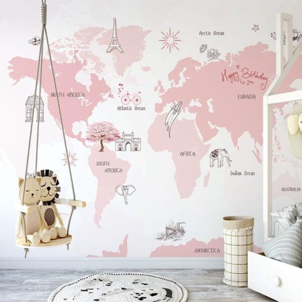 Pinkish World Map Wall Murals Wallpaper