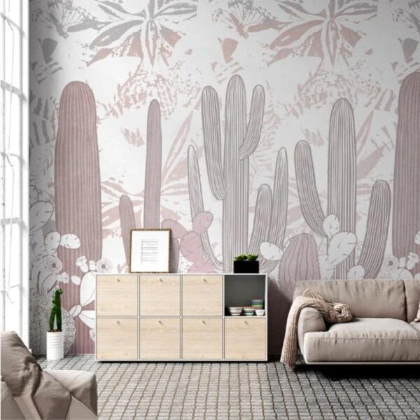 Pinkly Cactus Wall Murals Wallpaper