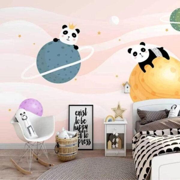 Planets and Pandas Wall Murals Wallpaper