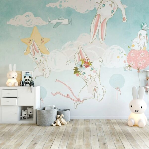 Pretty White Rabbits Wall Murals Wallpaper